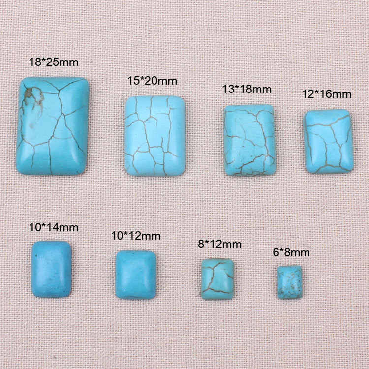 10pcs/lot Half Square Flat Back Cabochons Blue Howlite Natural Stone Spacer Loose Beads DIY jewelry findings For Necklace