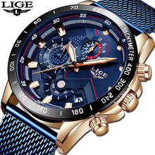 Relogio Masculino 2019 LIGE NEW Mens Watches Top Brand Luxury Sport Watch Mesh Steel Date Waterproof Quartz Watch for Men Clock relogio masculino mens watches lige new top brand luxury automatic date quartz watch men military leather waterproof sport watch