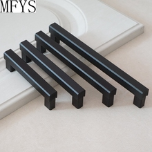 3.75 5 6.3 7.5 Modern Black Door Handle Drawer Pulls Dresser Handles Kitchen Cabinet Knob Hardware