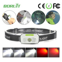 Mini Rechargeable Led Headlight Headlamp Running Head Light Torch Lamp 5 Mode With Red Light Mode