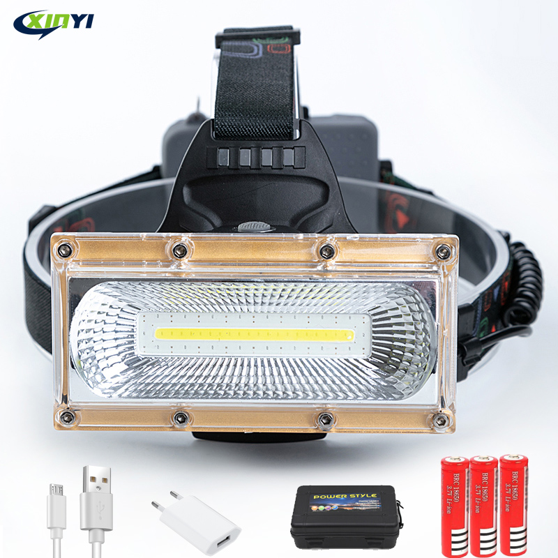 80000LM Floodlight COB LED Headlamps  LED Headlight Camping Head Torch 3Modes Head Lantern 3*18650 Rechargeable Frontal HeadLamp