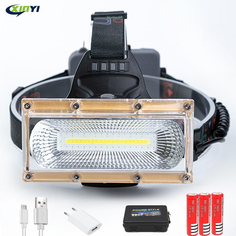 80000LM Projektör COB LED Farlar LED Far Kamp baş feneri 3 Modları Başkanı Fener 3*18650 Şarj Edilebilir Frontal Far