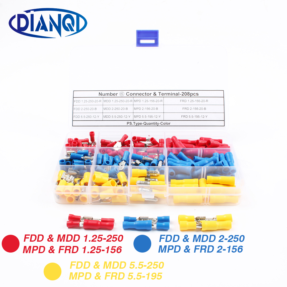 208pcs Male Female Insulated Electrical Crimp Terminal Wire Assorted Full Insulated Fork Terminals Connectors Assortment Kit цена