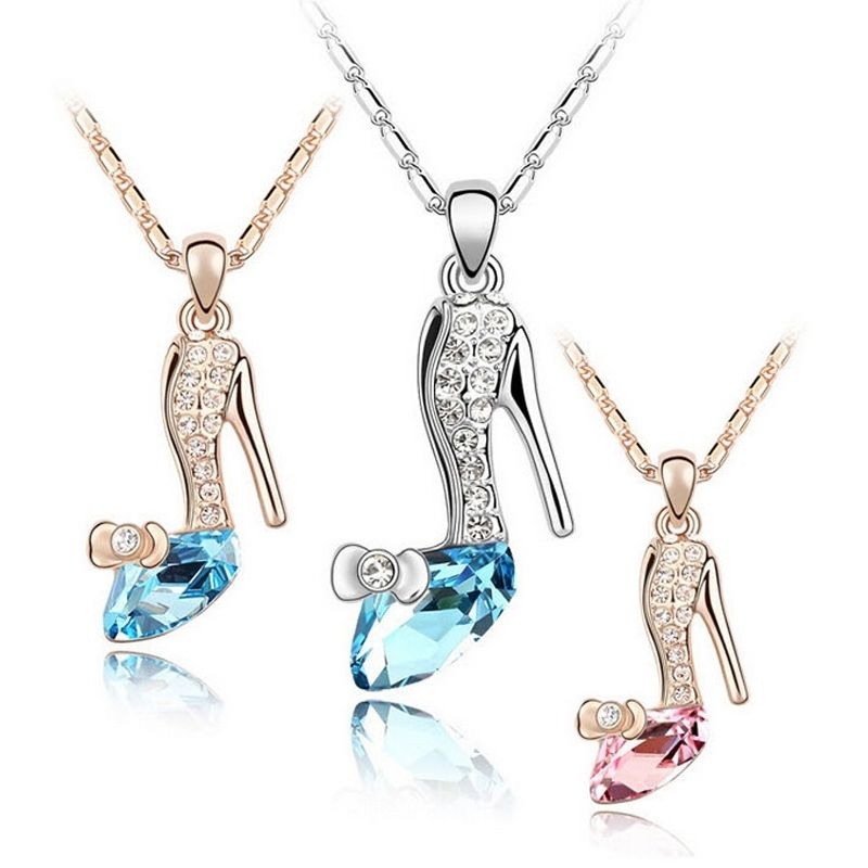 Magic Crystals Shoes Rhinestone Pendants Necklace Chain Gift Fashion Jewelry Movie Stylish 3 Colors