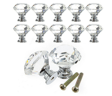 10Pcs 30mm Diamond Crystal Glass Alloy Door Drawer Cabinet Wardrobe Pull Handle Knobs