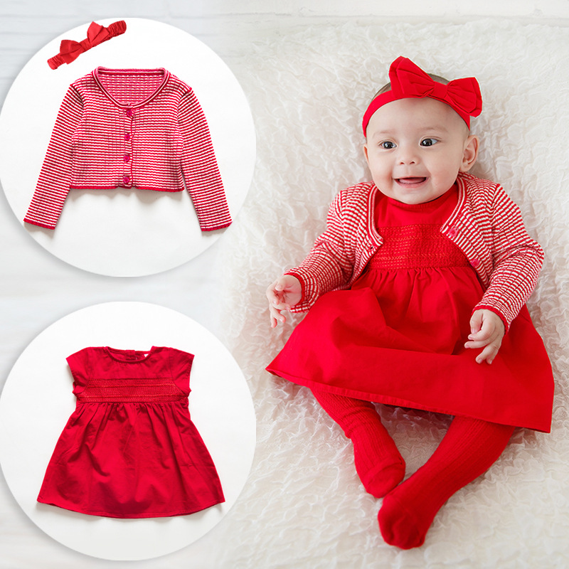 Trolls Top Fashion Sale Knee-length Solid A-line Bow Days Old Female Baby 100 Full Moon Cotton Festive Children Qunsan Suit top fashion sale 10pcs 100