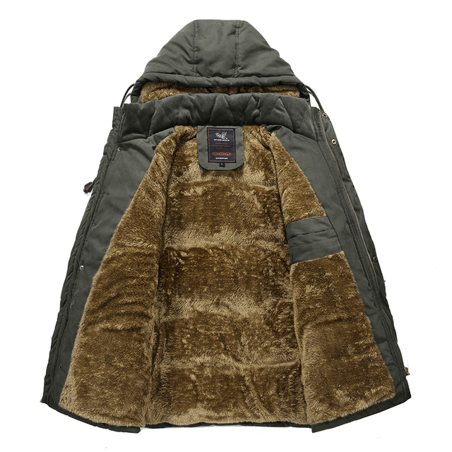 YIHUAHOO Men Winter Jacket 6XL 7XL 8XL Thick Warm Parka Fleece Fur Hooded Military Jacket Coat Pockets Windbreaker Jacket Men