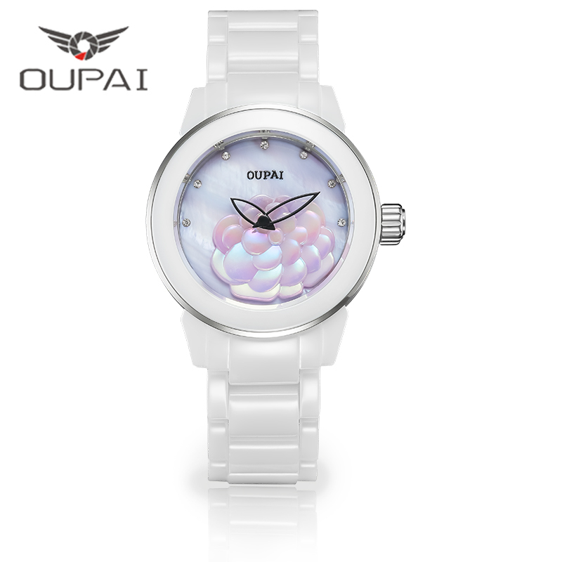 OUPAI Camellia Elegant Fashion Ceramics White  Watch Women Waterproof Shell Face Butterfly Neddle Lady Watch