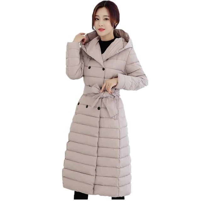Womens winter long jackets and coats parka 2016 fashion warm casual down wadded long coats hooded chaquetas mujer jaqueta femme
