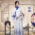 Синий и белый Китайский Народный Танец Хан Фу Hanfu Ruqun древний Костюм династии мин Одежда Женская Aoqun Танец Носят платье