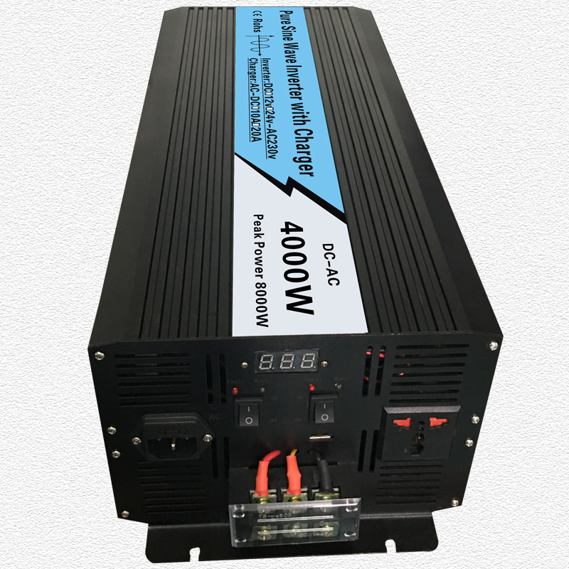 Continuous 4000W UPS Pure Sine Wave Inverter Input 12V/24V Output 220V/110V DC to AC Solar System Inverter with 20A/10A Charger