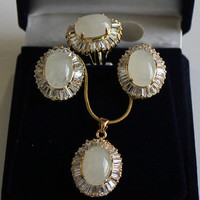 Excellent Jewelry White Zircon Opal Beads Pendant Earring Ring Set