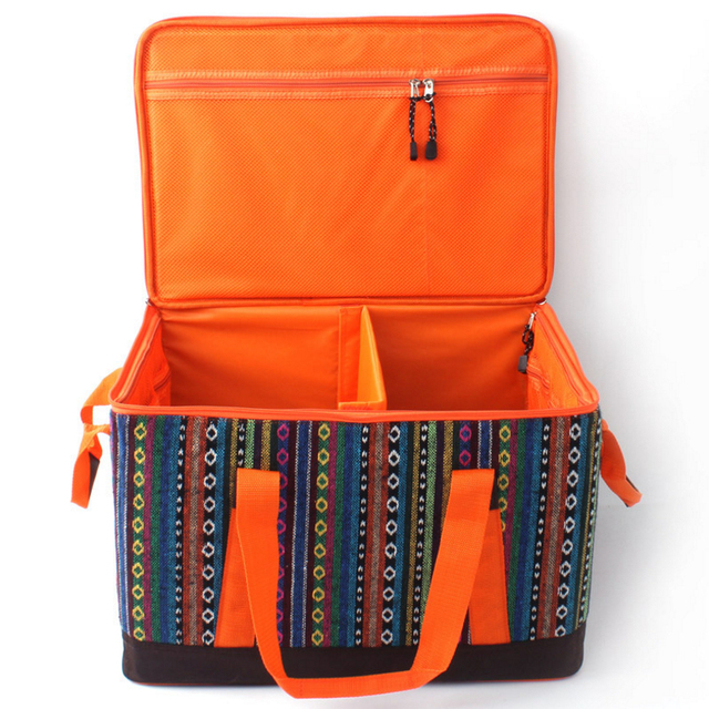 Outdoor Picnic bags High-capacity folding thick storage pouch Picnic basket kit high quality ethnic Picnic equipment