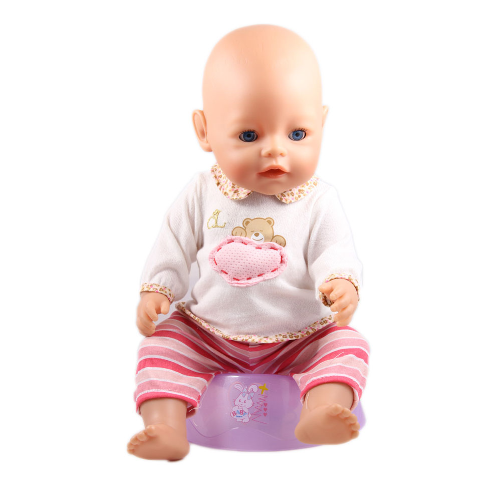 White pajamas + Pants doll clothes Wear fit 43cm Baby Born zapf ,18 American Girl Doll Clothes , Children best Birthday Gift 2color choose leisure dress doll clothes wear fit 43cm baby born zapf children best birthday gift only sell clothes
