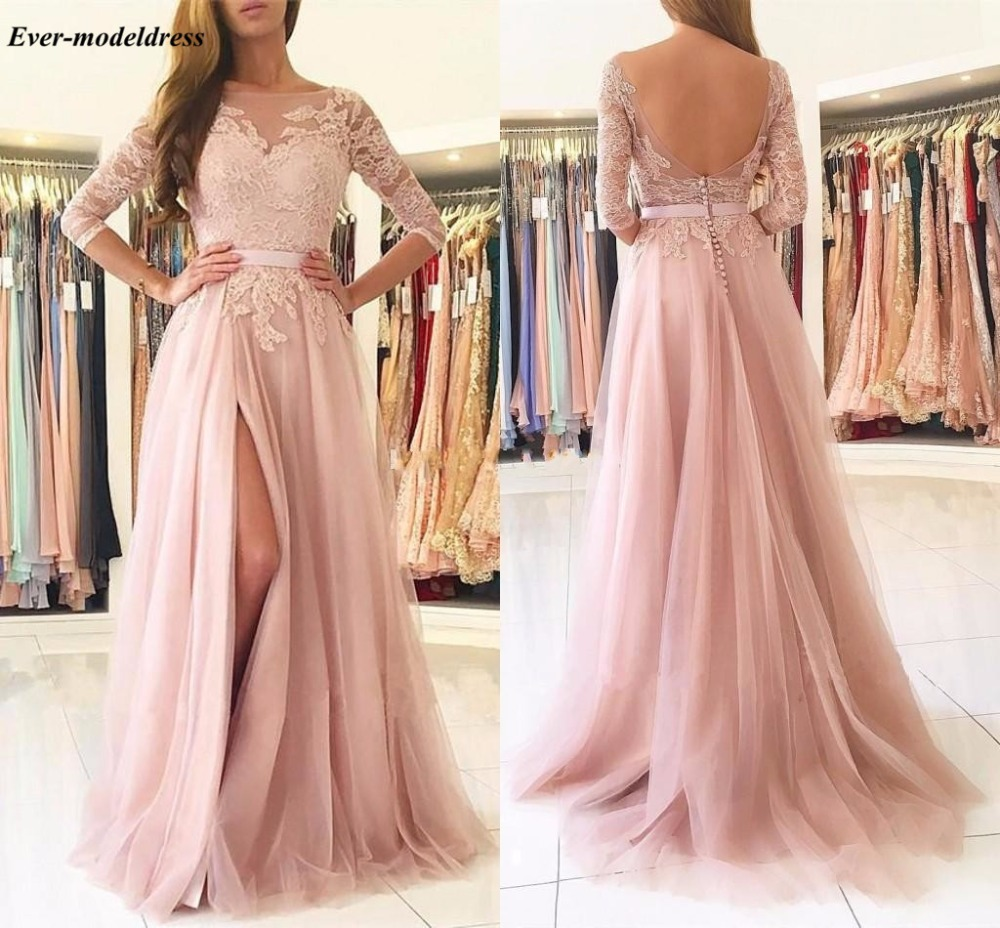 Blush Pink Tulle Long   Bridesmaid     Dresses   3/4 Sleeves Appliques Backless Wedding Party   Dress   With Slit 2019