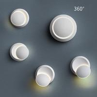 LBAH led 360 degree rotation adjustable bedside light Black/Whitecreative wall lamp modern aisle round moon light