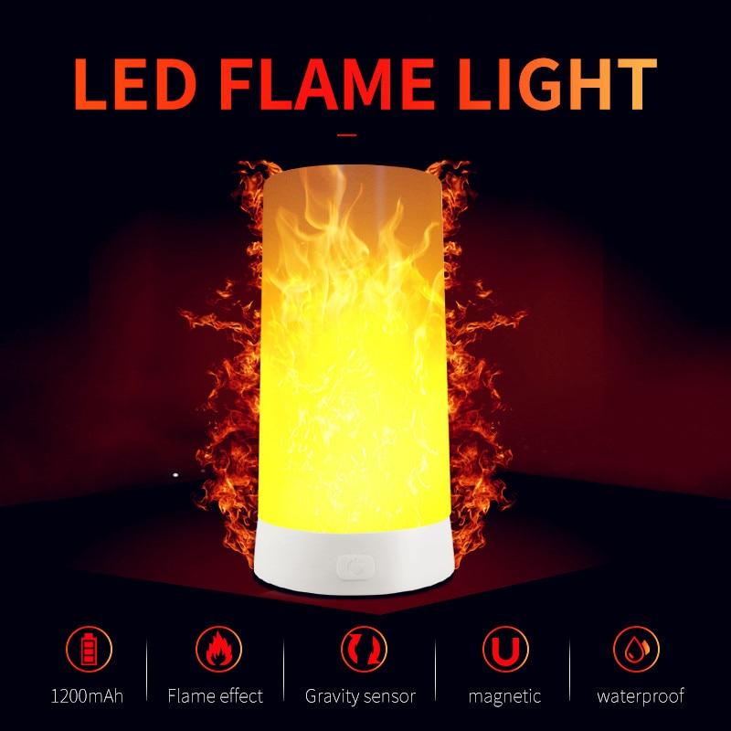 Portable LED Flame Night Light 3 Modes Gravity Sensor USB Recharging Effect Fire Emulation Flickering Decor Bedroom