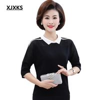XJXKS Plus Size Breathable Women Summer Top Solid Color Tshirt Black And Red 2019 New Comfortable Knitted Women T shirts