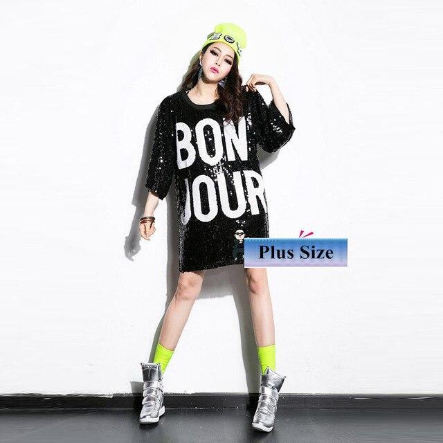 2017 sequin lose tshirt summer hip hop Sequined costume hip hop Paillette long t shirt hip hop dance wear jazz clothing