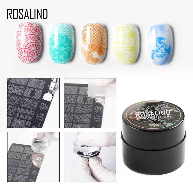ROSALIND 5ml Gel Nail Polish Printing Oil Soak Off Semi Permanent Nail Primer UV Gel Varnish for Nail Art Templates Manicure