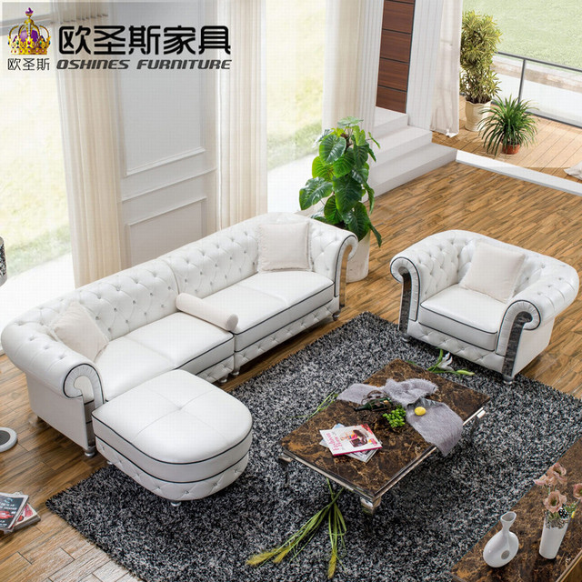 Factory Wholesale Best Quality Cheap Off White Stailess Steel Metal Frame 4  Seats Shiny Leather Sofa