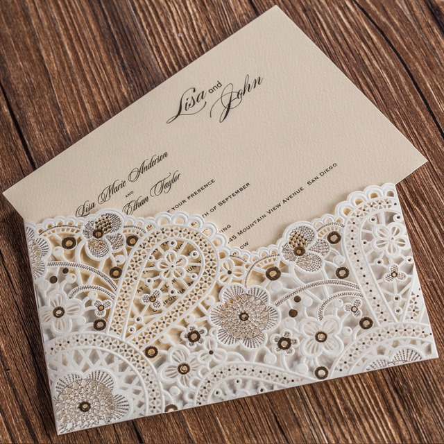50pcs Laser Cut Wedding Invitations Cards Customized With Hollow Flora Cardstock For Engagement Birthday Bridal Shower CW5181