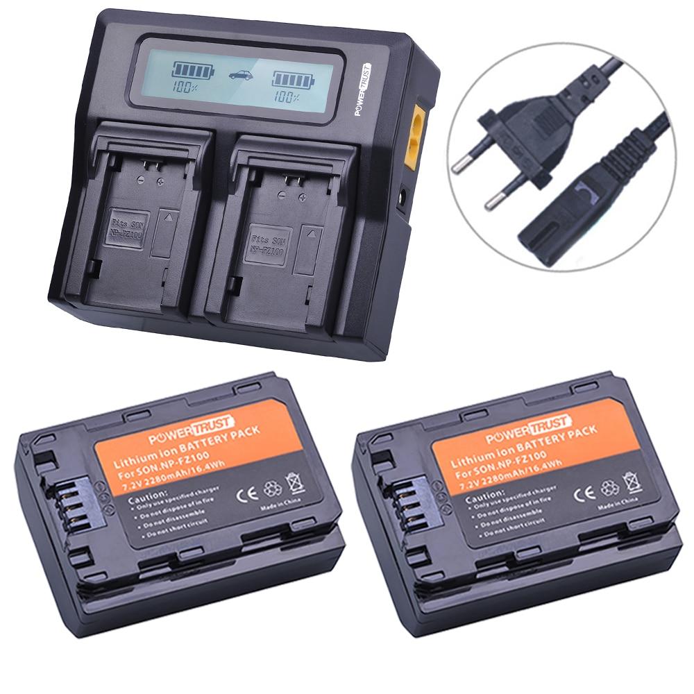 2x 2280mAh NP-FZ100 NPFZ100 NP FZ100 Battery+LCD Rapid Dual Charger for Sony BC-QZ1 Alpha 9 9R A9R 9S ILCE-9 A7R A7 III ILCE-7M3 3x 2280mah np fz100 npfz100 np fz100 battery for sony a9 a9r 9s bc qz1 alpha 9 ilce 9 a7r ilce 7rm3 a7 iii ilce 7m3 ilce 7m3k