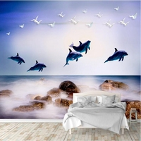 European Style Photo Wall Murals Creative Marine Dolphin Whale Wall Paper Wall Murals TV Background Living Room Sofa Wall Study