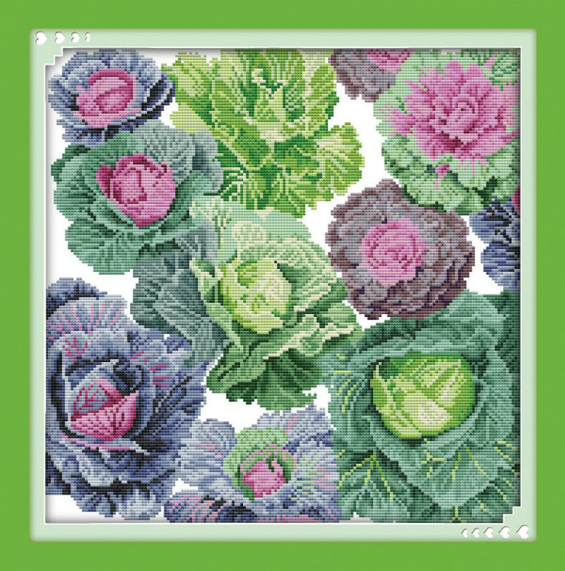 Oneroom Cabbage Beautiful Printed On Canvas DMC Counted Chinese Cross Stitch Kits Printed Cross-stitch Set Embroidery Needlework