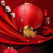 Круглые шелковые китайские фонарики с кисточкой Золотые 20 см Свадебные украшения для дня рождения для праздничного отеля красные китайские фонарики