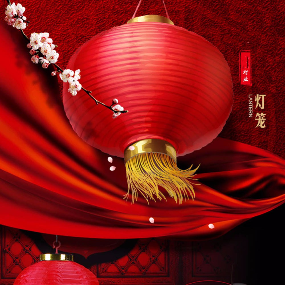 Round Silk Chinese Lanterns With Tassel Gold 20cm Wedding Birthday Party Decorations Lamp For Festive Hotel Red Chinese Lanterns