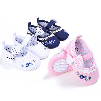 First Walkers Newborn Baby Girls Sneakers Bow Non-slip Crib Shoes Soft Sole Prewalker 0-18M