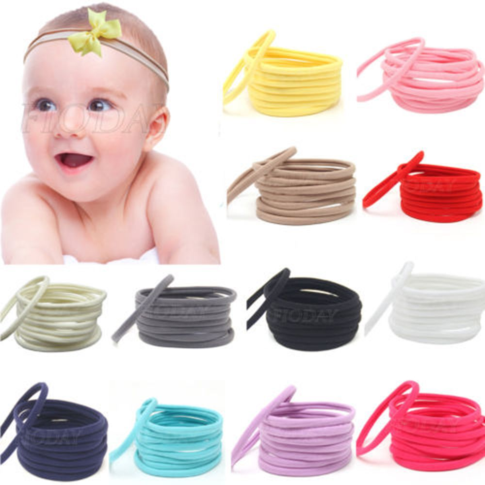 60Pcs Baby Girl Nylon Headband Newborn Elastic Headbands DIY Headdress Multi-usage Children Hair Ropes Accessories Drop Shipping free shipping 2 colors newborn kid girl elastic flower headband hairband hair accessories