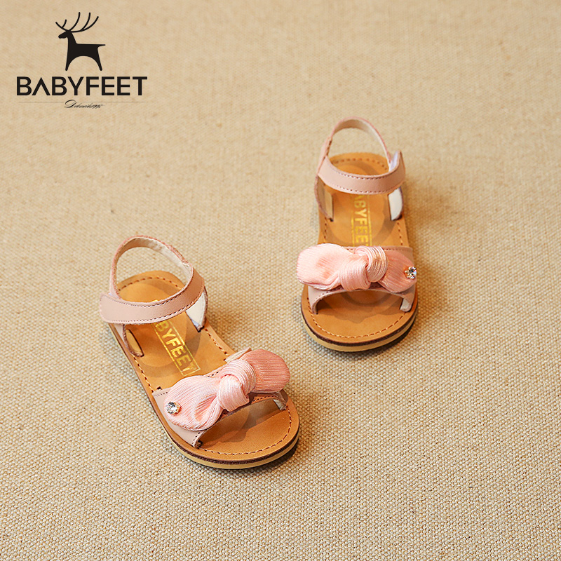 babyfeet Summer slip kids sandals girls Comfortable Genuine Leather shoes infantil Children Flat baby girl infant Toddler shoes baby moccasins the coral pear classic moccasin genuine leather infant toddler kids
