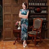 Nouvelle Arrivée Impression Femmes de Satin Cheongsam Chinois Traditionnel Longue Qipao Tops Vintage Bouton Fleur Robe S M L XL XXL XXXL