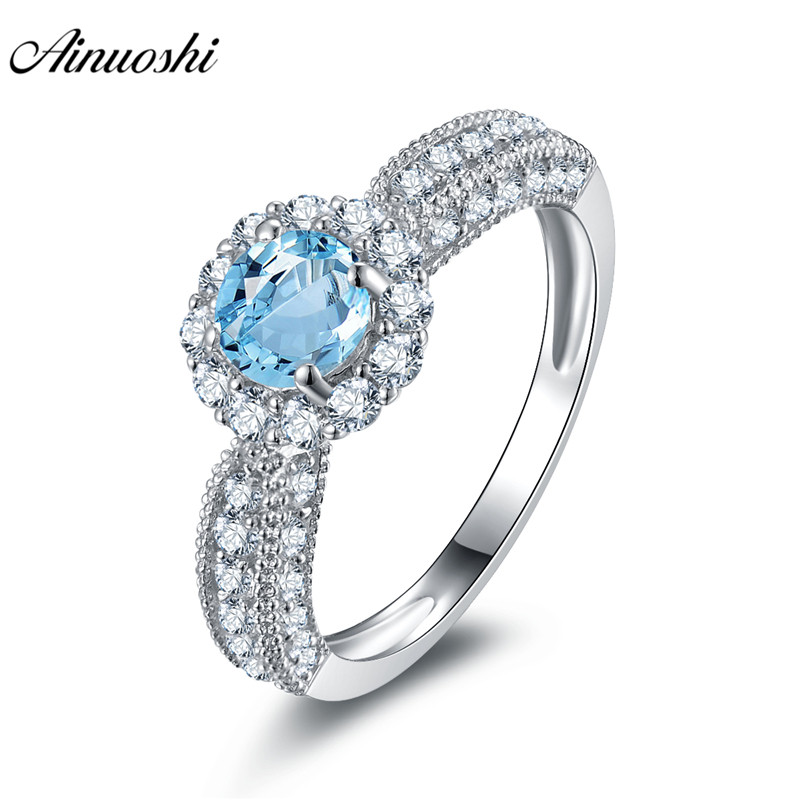 AINUOSHI Natural Blue Topaz Halo Ring SONA Diamond 0.6ct Round Cut Gems Engagement Wedding Ring 925 Sterling Silver Ring Jewelry luxury jewelry round cut sona diamond engagement ring in sterling silver