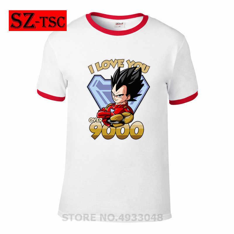 Figuras de Dragon Ball Z Super Saiyan Deus Super Saiyajin Goku Vegeta Boneca Linda T-shirt Dos Homens casual algodão Azul letra impressa topos