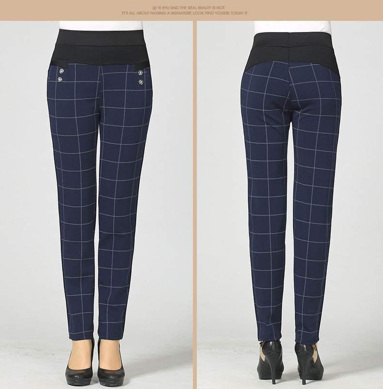 Woman Casual Pant Navy Blue Green Black Plaid Trousers Women Spring Autumn Winter Trouser High Waist Elastic Band Pantalonese Mujer  (10)