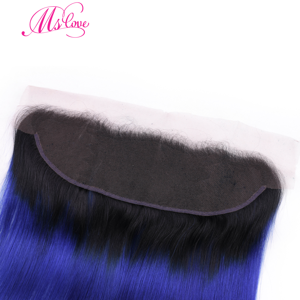 Ms Love Ombre Tb/Blue Brazilian Hair Lace Frontal Pre Plucked Straight Remy Human Hair Lace Frontal Free Shipping