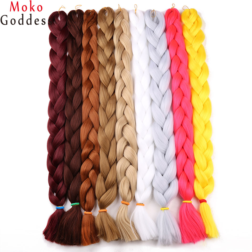 Hair Braids Steady Ali Mokogoddess 41inch 165g/pack Synthetic Braiding Hair Purple Kanekalon Jumbo Braid Crochet Hair Extensions Blond To Help Digest Greasy Food