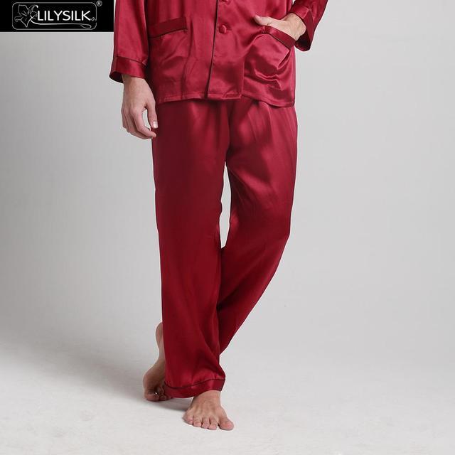Lilysilk Marca de Ropa Pantalones Largos de Los Hombres de Color Sólido Puro de Seda Chinos Naturales 22 Momme de La Boda Cintura Elástica Inferior Del Sueño primavera