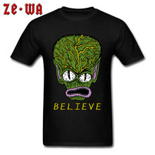 2018 Fashion T-shirt Man Tshirt Mens Tops Tees Believe In Alien Print T Shirts Cotton Short Sleeve Cartoon Clothes XS Wholesale(China)