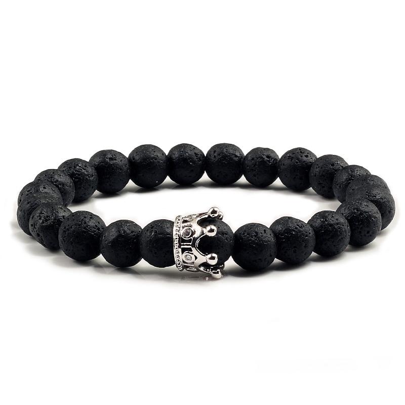 Trendy Black Lava Stone Bead Bracelets for Women Imperial Crown Charm Natural Volcanic Stone Stretch Bracelet Men Pulsera Hombre