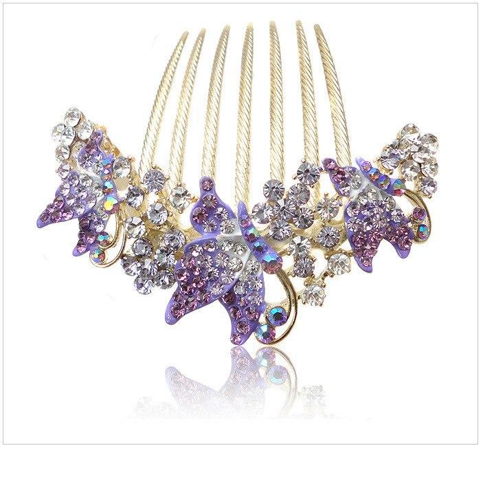 Butterfly Hair Zircon F161 Combs Rhinestone Bride Wedding Korean Fashion Luxrious Shiny