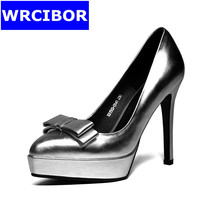 2017 woman shoes fashion women pumps red bottom High heels silver ladies sexy Thin heels pointed toe platform shoes for women