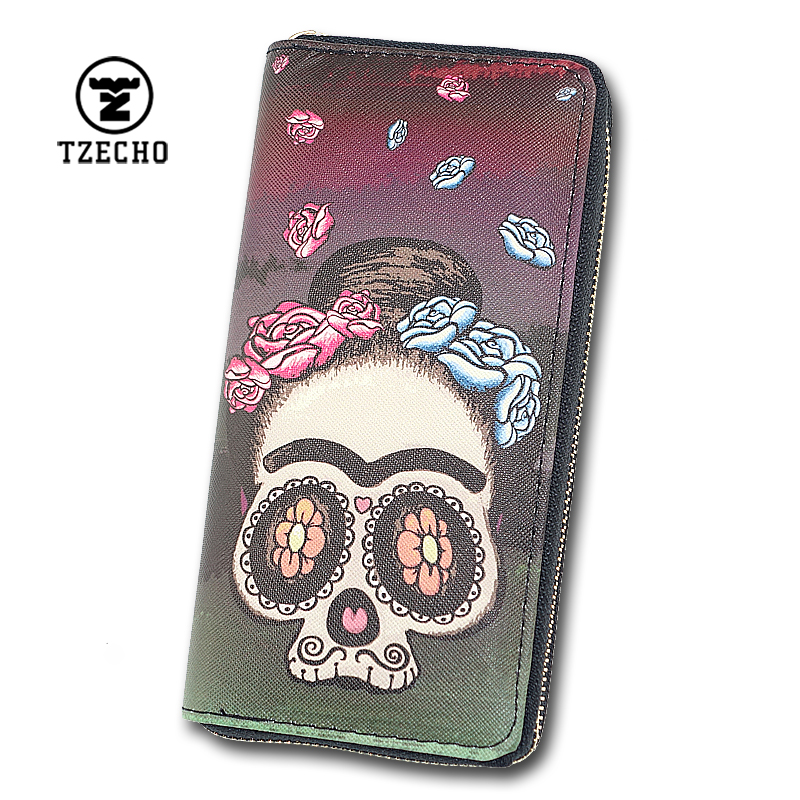 TZECHO Zipper Wallet for Women With Phone PU Cartoon Skull Head Clutch Purses Rfid Credit Cards Holder Ladies Long Women Wallets