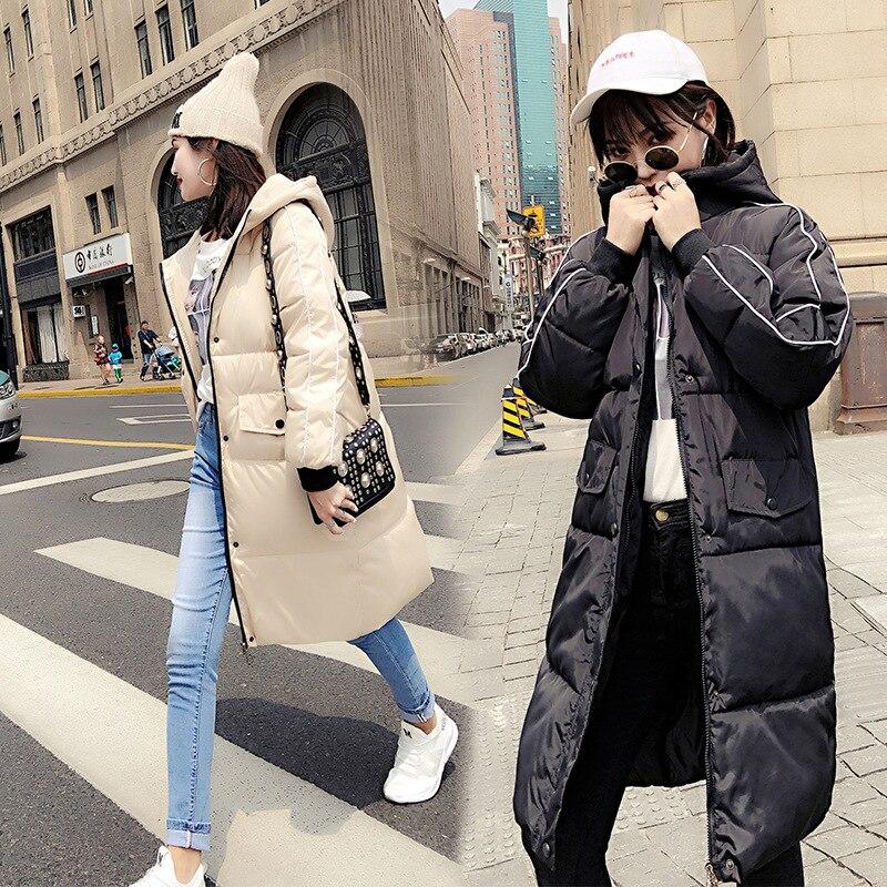 Beige 2018 Capuche Parka Coton Rouge Hiver À Chaud Couleur Nouvelle Veste Outwear red Solide Ac278 black Manteau Coréenne Femmes Long Style blue Lâche Noir Casual O4r1xOz