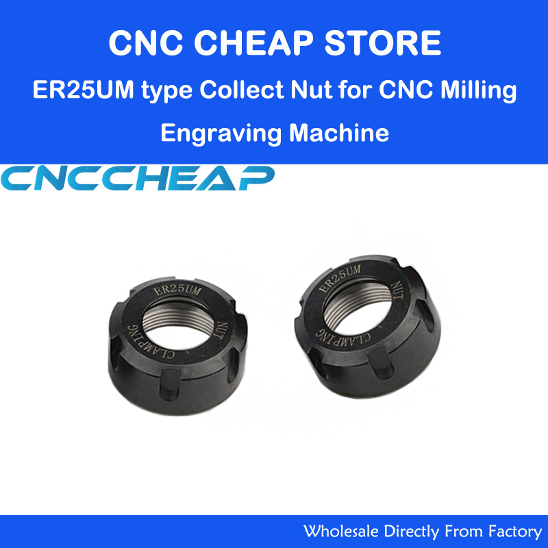 2pcs/lot Precision UM Type ER25 NUT Spring Collet Chuck Nut Clamping ER25-UM For CNC Router Milling Engraving Machine Spindle