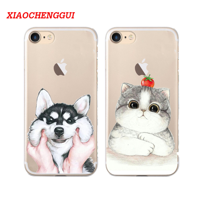 9f2f330efa Hot Sale Fashion Cute Cat Dog Case For Apple iPhone 5s 6 6S 7 8 7 Plus x  Cell Phone Cases Hard Plastic Cartoon Back Cover Coque