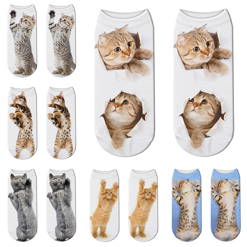 SexeMara New Harajuku 1 Pair 3D Printed Women Unisex Socks Cute Kawaii Short Socks Cat Pattern Female Funny Ankle Cotton Sock